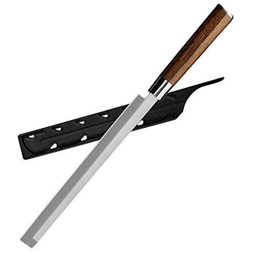 XYJ 10 Zoll Schneidemesser Japanisches Sushi-Messer Lachsmesser aus rostfreiem Stahl mit hohem Kohlenstoffgehalt Rasiermesser Scharfe Sashimi-Wassermelonenmesser mit Kantenschutz Küchenmesser-Werkzeug