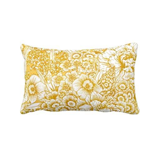 Traasd11an Funda de cojín rectangular para sofá, diseño floral, color mostaza/blanco, amarillo y dorado