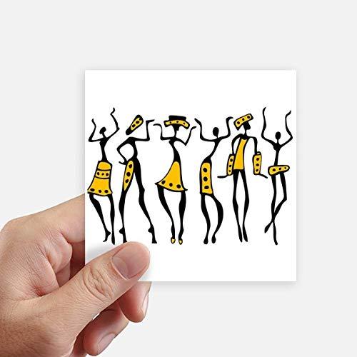 DIYthinker Autochtone Noir Totems Primitive Afrique Dessin carré Autocollants 10CM Mur Valise pour Ordinateur Portable Motobike Decal 8Pcs 10cm x 10cm Multicolor