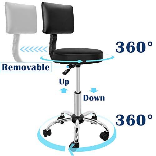 Hydraulic Swivel Medical Salon Stool Clinic Spa Massage Stool Rolling Manicure Chair W/Backrest for Tattoo Facial Spa