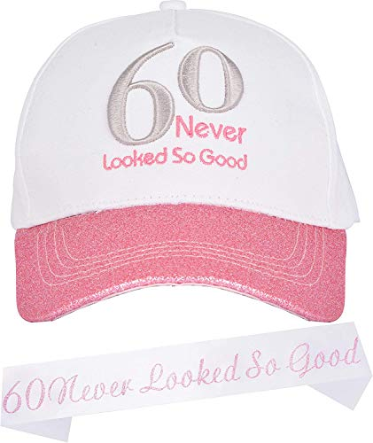 60th Birthday Gifts for Women, 60th Birthday Sash and Hat, Baseball Cap Pink, 60 Never Looked So Good Sash 60th Birthday, Novelty Gift for Woman, 60th Birthday Party Supplies Gifts and Decorations
