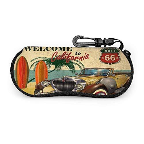 Tcerlcir Cartel retro de bienvenida a California con gafas de sol Route 66 Estuche blando Estuche de gafas de neopreno ultraligero con cremallera y llavero, 17x8cm