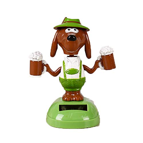 Juesi Solar Powered Dancing Toy, Cute Dog Swinging Animated Dancer Toy Car Decoration Bobble Head Toy for Kids (K)