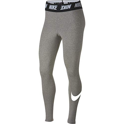 Nike Damen High-Rise Leggings Sportswear Club, Dark Grey Heather/White, L, AH3362-063
