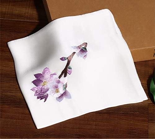 Z.L.FFLZ Embroidery Handkerchief Handkerchief Ladies Suzhou Embroidery Floral Silk Handmade Soft Embroidery Pocket Handkerchief (Color : White, Size : M)
