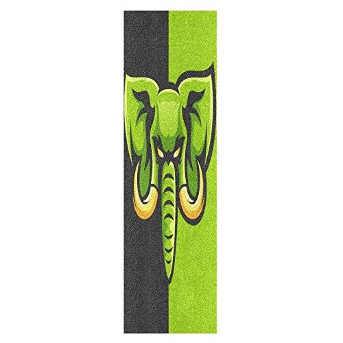 Lindo Elefante Rey Verde Negro Monopatín Papel de Lija Antideslizante Hoja Cinta de Agarre Lijas para Patineta Scooter Etiquetas engomadas (84 x 23 cm)