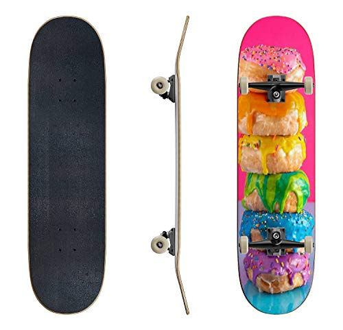 EFTOWEL Skateboards a Tower of Rainbow Colored Glazed Donuts Donuts Stock Pictures Classic Concave Skateboard Cool Stuff Teen Gifts Longboard Extreme Sports for Beginners and Professionals