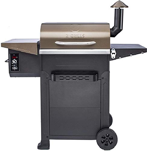Z GRILLS Wood Pellet Grill & Smoker,8 in 1 BBQ Grill Outdoor Smoker with 600 sq in Cooking Area, Auto Temperature Control Pellet Smoker(ZPG-L6002B)-Bronze