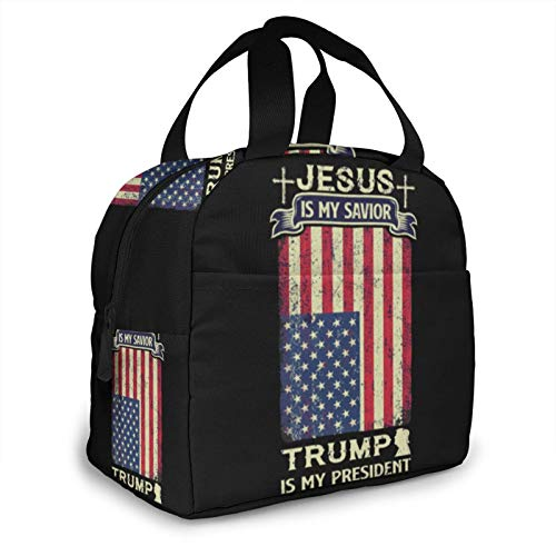 Donal Trump Is The Best President! Lunch Bag for Women and Men Large Tote Insulated Lunch Box with Pockets Shoulder Strap for Work Picnic Travel Lunch Container