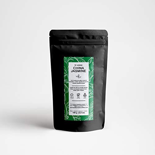 Tè verde. China Jasmine. Sapore a gelsomino aromatico. Con un infuso giallo dorato. Antiossidante. Diuretico (100 Gr)