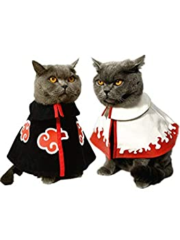 YUYUYU Naruto Akatsuki Organisation Cape Nuage Rouge, Sept Générations Uzumaki Naruto Cape Pet Chat Chien Fournitures Vêtements Cosplay Costume Ninja Dress Up (S,Black)