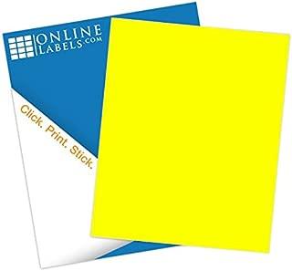 Yellow Sticker Paper, 8.5 x 11 Full Sheet Label, 100 Sheets, Inkjet or Laser Printer, Online Labels