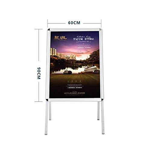 JUZZQ Aluminiumlegierung Poster Regal vertikale Landung Plakatwand doppelseitige Grafikkarte KT Bord Auslage, Schild Gehweg Doppelseitiges Poster Halter Im Freien, Aluminium Pavement Display Board