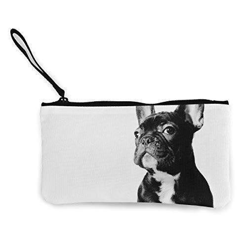 Black French Bulldog White Wristlet Clutch Wallet for Women Girls, Small Clutch Organizer Wallets Ladies Clutch Long Purse - Portable Tote Purse Travel Purse Wristlet Tote Bag
