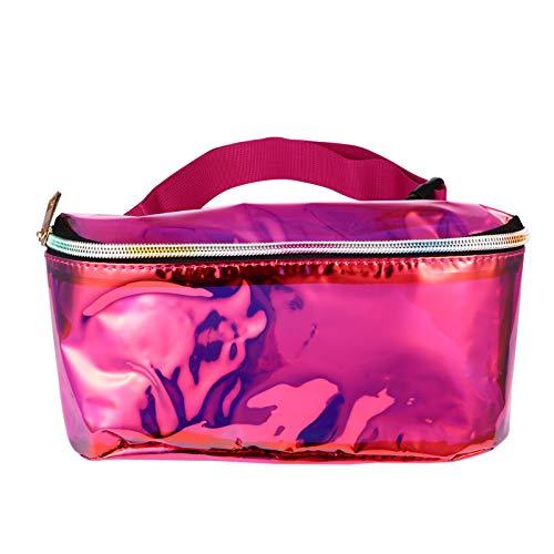 KESYOO Riñonera Bolsa de Cinturón Transparente Impermeable PVC Bolsa de Cuerpo Cinturón Ajustable Bolsa de Pecho Transparente Estadio Aprobado Bolsa de Cintura para Mujeres (Rosy)