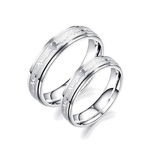 Malinmay Ladies Stainless Steel Rings, UK Sizer ECG with Heart Stainless Steel Rings Set for Lovers Familys Silver L 1/2