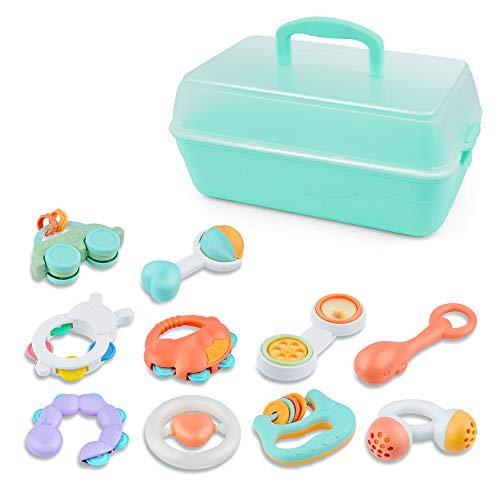 GizmoVine 10pcs Rassel Baby , Baby Spielzeug Schütteln Musikalisches Spielzeug mit Aufbewahrungsbox für Baby Spielzeug ab 0 ,3, 6, 9, 12 Monate