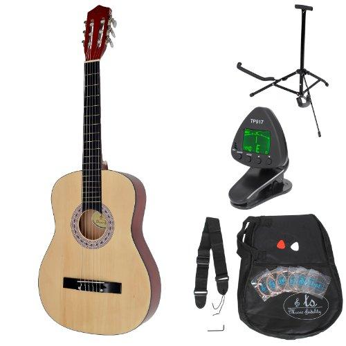 Guitarra clásica concierto completa con accesorios. Calidad Estándar. Color madera natural. Tamaño regular (4/4).