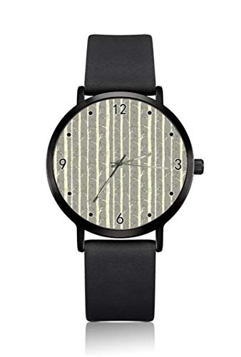 Relojes de Pulsera para Hombre con diseño de Hojas abstractas de Abedul, Carcasa Ultrafina, Correa de Esfera analógica Minimalista, Movimiento de Cuarzo japonés para Hombre