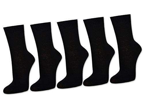 sockenkauf24 10 Paar Damensocken 100% Baumwolle ohne Naht Business Damen Socken Schwarz Weiß Beige Braun (35-38, Schwarz)
