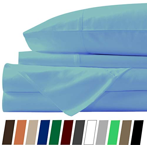 800 TC Cotton Bed Sheets on Amazon - 4 Pc Sky Blue, Cal-King Sheet Set, Single Ply Long Staple Combed Cotton Yarns, Best Luxury Hotel Sheets Like Sateen Weave, Fits Mattress Upto 24'' Deep Pocket