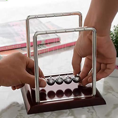 Garciasia 1 Unid Desarrollo Educativo Temprano Escritorio Educativo Juguete Regalo Newtons Cuna Acero Balance Ball Física Ciencia Péndulo (Color: Vino Rojo + Plata)
