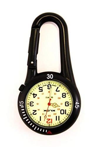 Taschenuhr mit Karabiner und Zifferblatt mit Leuchtmasse, ideal für Ärzte, Krankenschwestern und Rettungsassistenten, Batterie extra, Schwarz