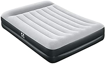 Sealy 94052E-BW 16 Inch High 2 Person Inflatable Mattress Internal I-Beam Queen Airbed w/ Built-In AC Air Pump, Pillow Headrest, and Storage Bag