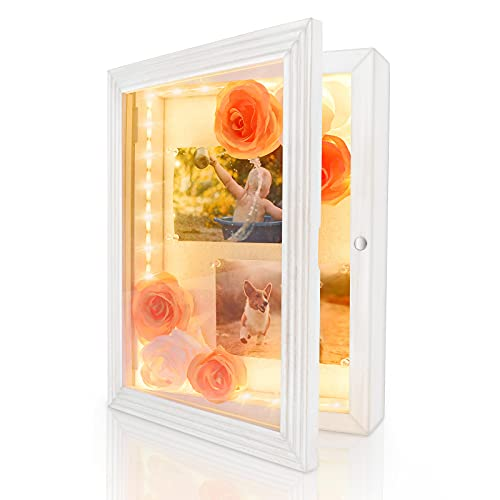 """HSicily LED Shadow Box Frame 11x14""""Shadow Box Display Case with Lights Wood Memory Box Linen Back..."""