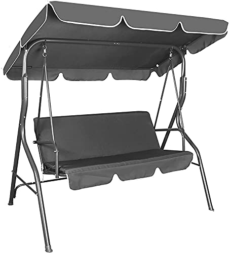 Patio Swing Chair 3 Seater, 3 Person Outdoor Canopy Swing Heavy Duty Porch Swing Seat with Canopy Garden Swing Chair for Outdoor Indoor