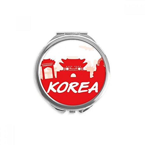 DIYthinker rouge silhouette haut-lieu touristique en corée miroir rond maquillage de poche à la main portable 2,6 pouces x 2,4 pouces x 0,3 pouce Multicolore