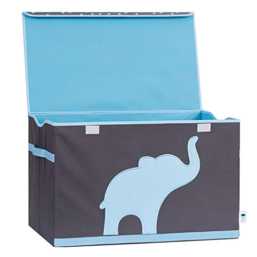 Store It 670384 Spielzeugtruhe, blauem, Polyester, Elefant - grau/hellblau, 62 x 37,5 x 39 cm