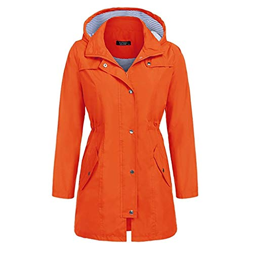 PKTOP Damen Windbreaker, wasserdicht, mit Kapuze, lang, winddicht, Outdoor-Jacke Gr. 42, Orange