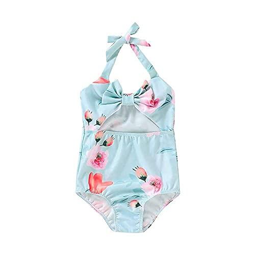junmo shop Traje de baño de una pieza sin mangas para bebés y niñas, traje de baño con estampado floral