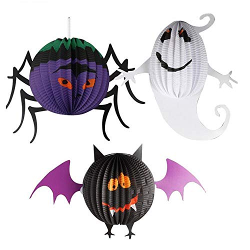 HDHUA Halloween Papier Anhänger Spinne Bat Geist Laterne Form-Dekoration verkleiden Props (3er-Pack) Party Dekoration (Color : A, Size : One Size)