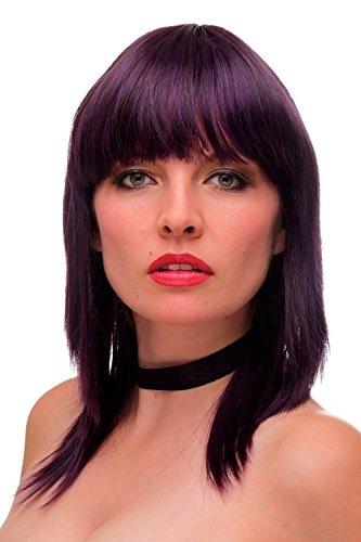 WIG ME UP - Perruque dame sexy frange hauteur des épaules lisse mélange violet foncé-bleu GF-W2203-T2410+T2409