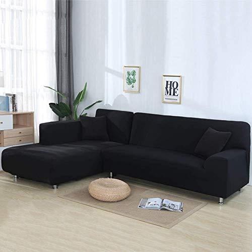 LVLUOKJ Funda para Sofá en Forma de L, EláStica 2 Piezas Largo Derecho Izquierda Funda Cubre Sofá, Chaise Longue Protector de Muebles (Color : Black, Size : 3 Seat+4 Seat)