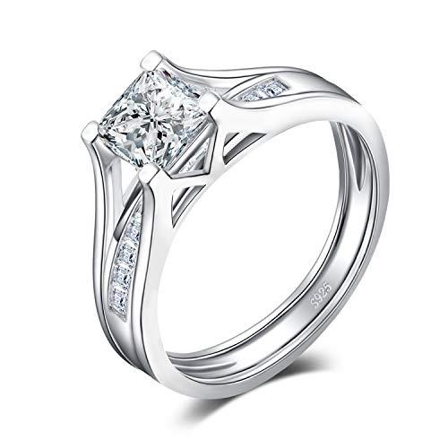 JewelryPalace Anillo de Compromiso Bridal Solitario Canal Set 2ct Princesa Corte Cubic Zirconia Aniversario Boda Alianza Plata de ley 925 Tamaño 14