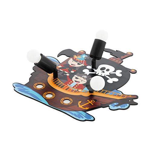 EGLO SAN CARLO Deckenlampe, Kinderlampe mit Piraten Motiv, Deko für Jungen und Mädchen, Deckenleuchte 3-flammig für Kinderzimmer Bunt, Piratenschiff Lampe, Holz, 40 W