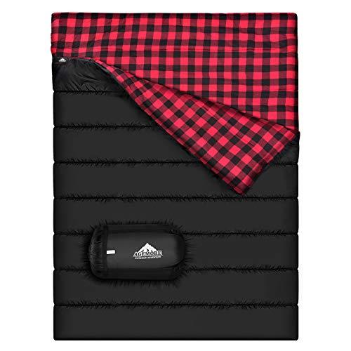 Doppelschlafsack aus Baumwollflanell, für Camping, Rucksackreisen oder Wandern, Queen-Size-Größe für 2 Personen, wasserdicht, für Erwachsene oder Jugendliche, für LKW, Zelt oder Isomatte, leicht