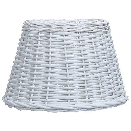 vidaXL Lampenschirm Handgefertigt Rustikal Leuchtschirm Lampe Leuchte Schirm für Deckenleuchte Weide Korbweide Rattan 45x28cm Weiß