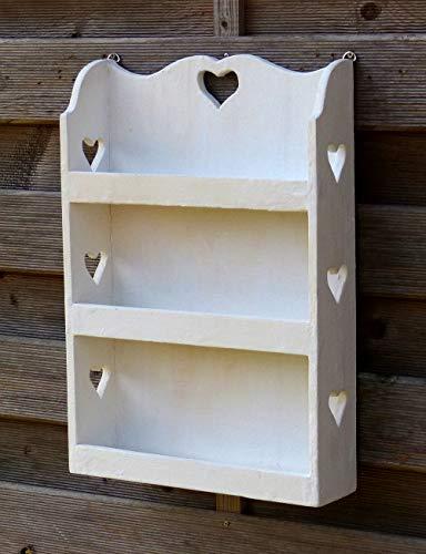 Gewürzregal Küchenregal mit viel Herz - Regal für Gewürze - Shabby Chic - Weiß