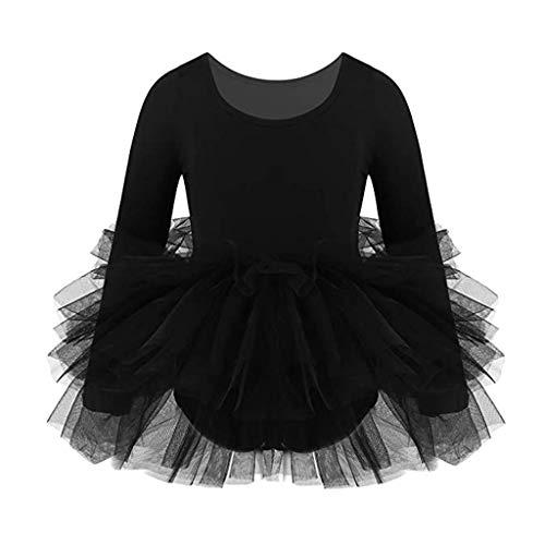 Bambina Balletto Leotard Abito Vestito di Balletto Ragazza Tutu Manica Lunga Abbigliamento da Ginnastica Abiti da Danza Classica Body Usura di Ballo Abiti, 6-7 Anni
