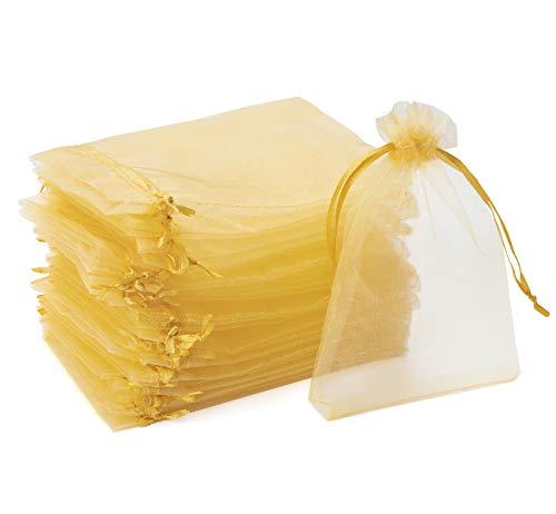 ABSOFINE 120 Stück Organzasäckchen 10 x 15 cm Organzabeutel Schmucksäckchen Hochzeit Geschenktüten für Hochzeit süßigkeiten Party(Gold)