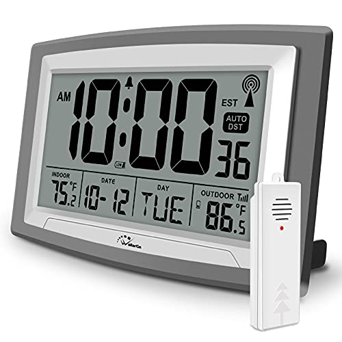 WallarGe Atomic Clock with Outdoor and Indoor Temperature - Self-Setting Alarm Day Digital Clock Large Dispaly,10' Battery Operated Wall Clocks or Desk Clocks for Bedroom,Livingroom,Office,