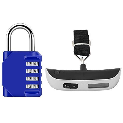 ROSELI 1pc 50Kg x 50G Digital LCD Handheld Luggage Baggage Weight Scale & 2X Combination Padlock Lock 4-Digit Combination Lock
