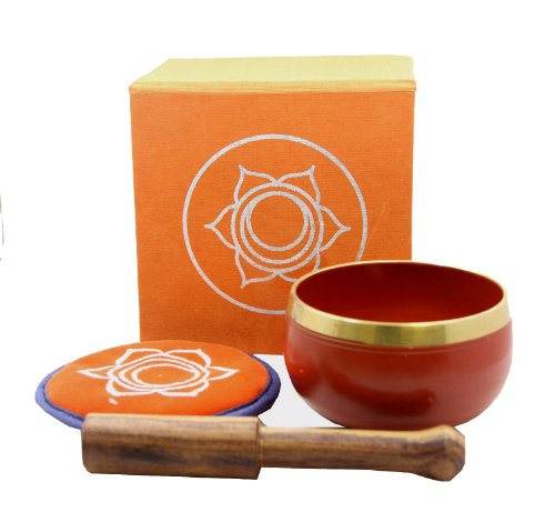 DharmaObjects Tibetan Palm Size Sacral Chakra Premium Singing Bowl Gift Set