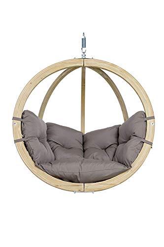 AMAZONAS Hängesessel in edlem Design aus FSC Fichtenholz Globo Chair Taupe bis 120 kg in Hellgrau