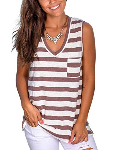 Sleeveless Shirts for Women Casual V Neck Tank Tops Workout Tees Pink S