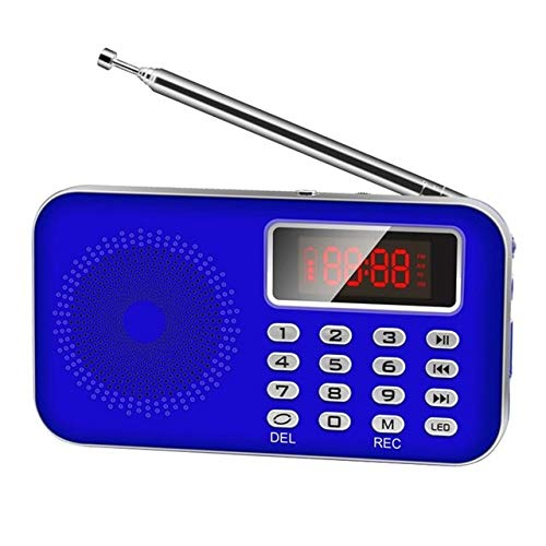 Mini FM Radio FM dab Radio, Speaker USB Rechargeable Music Player Support TF/SD Card with LED Display Screen (Color : Blue)